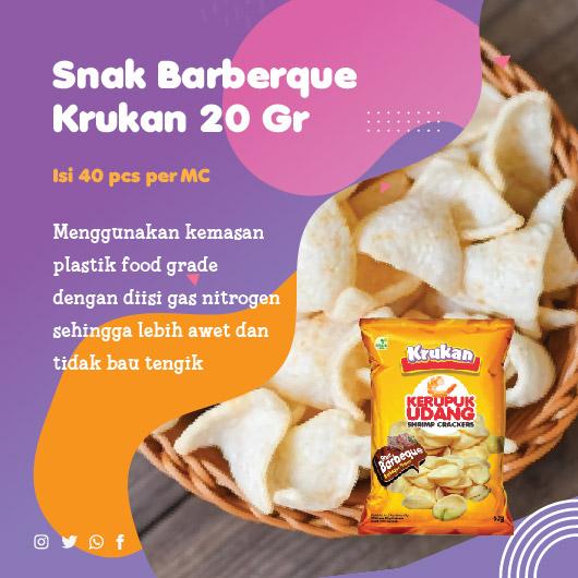 Snak Barberque Krukan 20 Gr Menggunakan kemasan plastik food grade